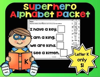 Alphabet Superhero Letter K