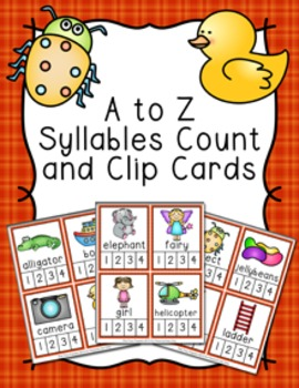 Alphabet Syllables Count and  Clip Cards