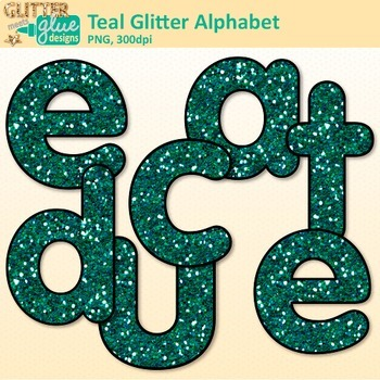 Teal Glitter Alphabet Clip Art {Great for Classroom Decor & Resources}