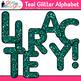 Teal Glitter Alphabet Clip Art {Great for Classroom Decor