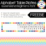FREE Alphabet Table Plates - Queensland Beginners font (Ra