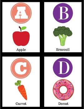 Letter Matching- Alphabet Task Cards (Food Edition)