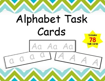 Alphabet Task Cards Includes 78 cards with Uppercase and Lowercase Letters
