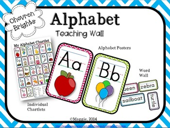 Alphabet Teaching Posters and Teaching Wall in Chevron + Individual ABC Chartlet
