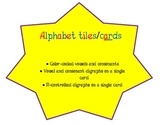 Alphabet Tiles/ Cards--Color-coded for easy discrimination