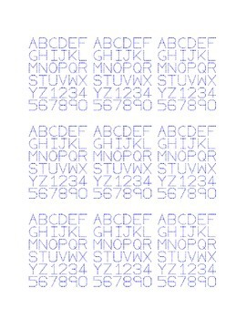 Alphabet Trace A to Z and Number Trace 0 to 9