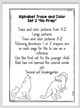 "Alphabet Trace and Color (Set 2) ""No Prep"""