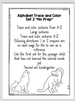 """Alphabet Trace and Color (Set 2) """"No Prep"""""""