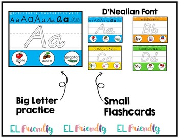 Visual Alphabet ID Tracing Practice D'Nealian Font English Learners ESL