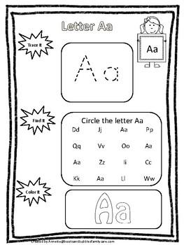 Alphabet Trace it, Find it, Color It Worksheets. Preschool-Kindergarten Phonics.