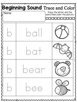 Alphabet Trace the Word Beginning Sounds