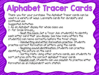 Alphabet Tracer Cards with Photograph