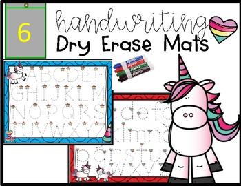 Unicorn Handwriting Dry Erase Trace Mats