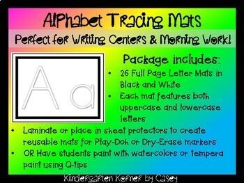 Alphabet Tracing Mats Pre-K Kindergarten Writing Center Morning Work Handwriting
