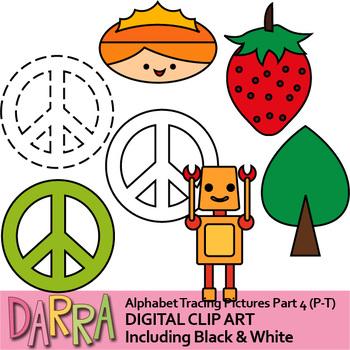 Alphabet Tracing Picture Clip art Part 4 (P, Q, R, S, T)
