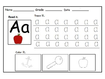 Alphabet Tracing, Recognizing and Coloring Worksheets: