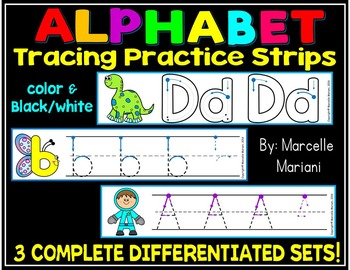 Alphabet Tracing Strips to teach proper letter formation