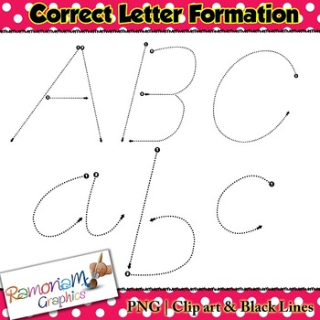 Alphabet Tracing dot letters: D'Nealian Style correct formation font clip art
