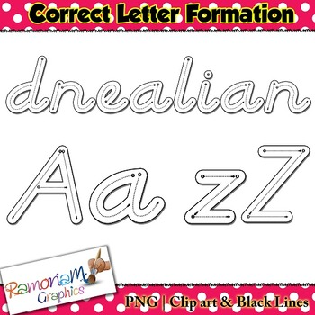 Alphabet Tracing letters: D'Nealian Style correct letter formation font clip art