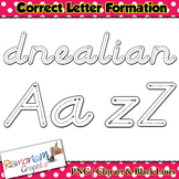 Alphabet Tracing letters: D'Nealian Style correct letter formation clip art