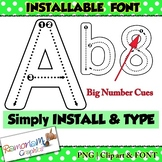 Alphabet tracing letters font (INSTALLABLE), correct lette