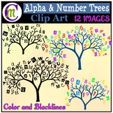 Alphabet Trees Clipart | Number Trees Clipart