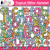 Tropical Glitter Alphabet Clip Art {Glitter Meets Glue}