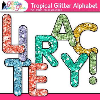 Tropical Glitter Alphabet Clip Art {Glitter Meets Glue}