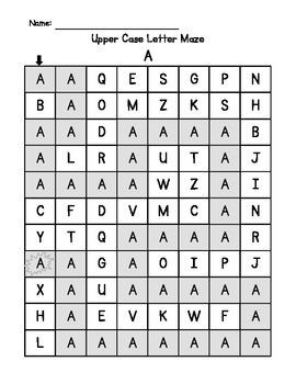 Alphabet Upper Case and Lower Case Letter Hunt Mazes worksheet or center