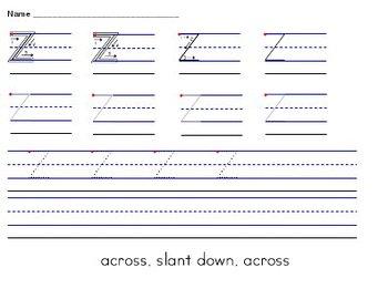Alphabet Uppercase A-Z Handwriting Worksheets MANUSCRIPT (Zaner-Bloser)
