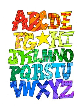 Alphabet Uppercase DESIGN Coloring Page