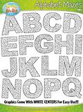 Alphabet Uppercase Letters Shaped Mazes Clipart {Zip-A-Dee-Doo-Dah Designs}