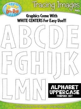 Alphabet Uppercase Letters Tracing Image Clipart {Zip-A-Dee-Doo-Dah Designs}