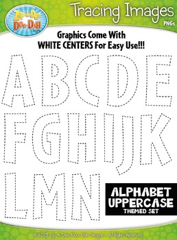 Alphabet Uppercase Letters Tracing Image Clipart Set — Inc