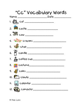 Alphabet Vocabulary Handwriting Practice