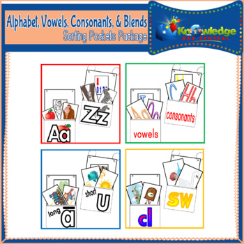 Alphabet, Vowels, Consonants, & Blends  Sorting Pockets Package