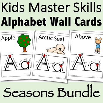 Alphabet Wall Cards Bundle for Fall, Winter, & Spring (Handwriting Instruction)