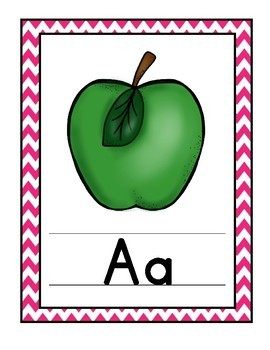 Alphabet Wall Card Posters - Bright Colorful Chevron