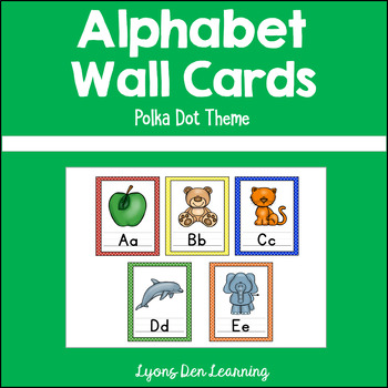 Alphabet Wall Card Posters - Bright, Colorful Polka Dots