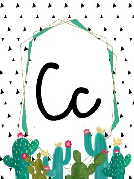 Alphabet Wall Posters (Cactus Classroom Decor) in Cursive