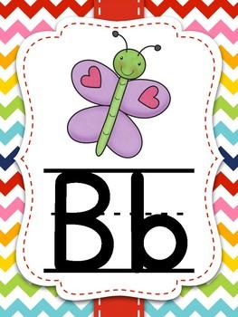 Rainbow Chevron Alphabet Wall Cards