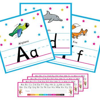 Alphabet Wall Cards + Alphabet Desk Strips +  CD Alphabet Writing Workbook