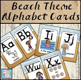 Alphabet Wall Cards with Pictures & Words Beach Theme Classroom Decor