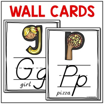 Alphabet Wall Cards and Literacy Centers Cards (D'Nealian)