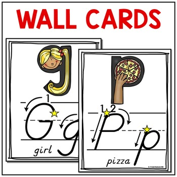 Alphabet Wall Cards and Centers Cards (D'Nealian With Instructional Arrows)