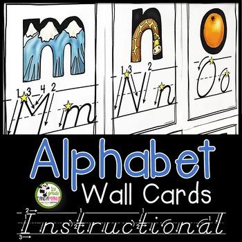 Alphabet Wall Cards {D'Nealian With Instructional Arrows}