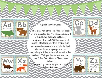 Alphabet Wall Cards - Gray, Orange, Green and Teal