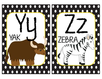 Alphabet Wall Cards - Matches Bee Theme