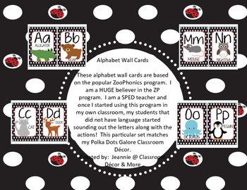 Alphabet Wall Cards - Matches Ladybug Theme