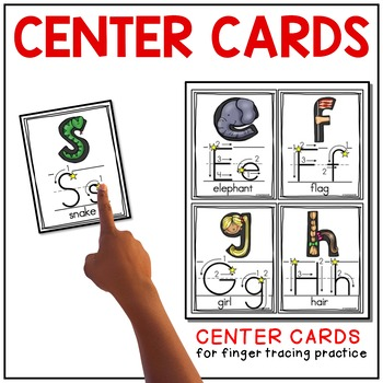 Alphabet Wall Cards and Literacy Centers Cards (Print/Traditional Manuscript)